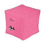 Personalized name killer whale pink diamonds cube pouf