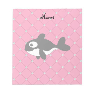 Personalized name killer whale pink diamonds scratch pads