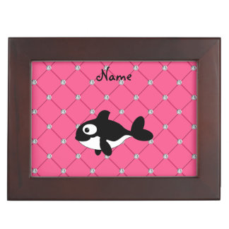 Personalized name killer whale pink diamonds memory boxes