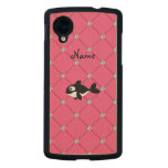 Personalized name killer whale pink diamonds carved® maple nexus 5 case