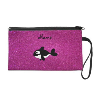 Personalized name killer whale pink glitter wristlets