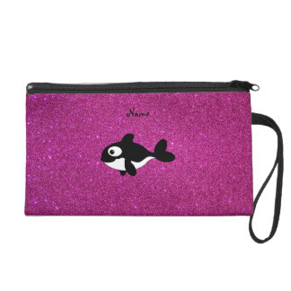 Personalized name killer whale pink glitter wristlet purse