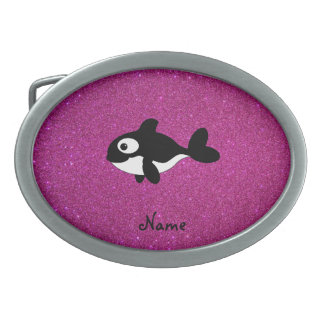 Personalized name killer whale pink glitter belt buckle