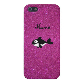 Personalized name killer whale pink glitter covers for iPhone 5