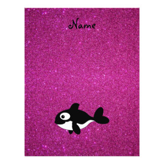 Personalized name killer whale pink glitter custom flyer