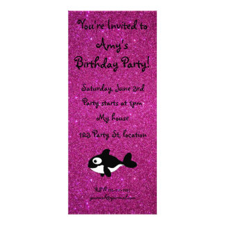 Personalized name killer whale pink glitter personalized invites