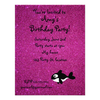 Personalized name killer whale pink glitter invitations