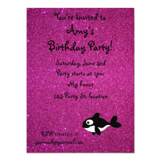 Personalized name killer whale pink glitter 6.5x8.75 paper invitation card