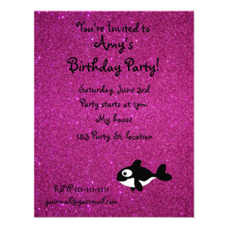 Personalized name killer whale pink glitter announcements