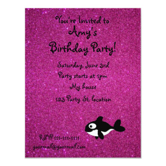 "Personalized name killer whale pink glitter 4.25"" x 5.5"" invitation card"