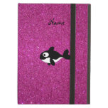 Personalized name killer whale pink glitter iPad folio case