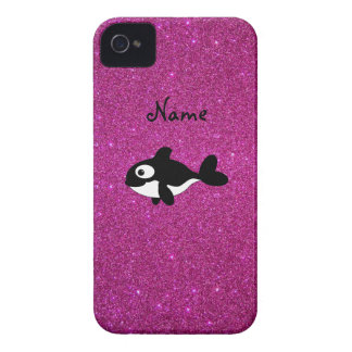 Personalized name killer whale pink glitter iPhone 4 Case-Mate cases