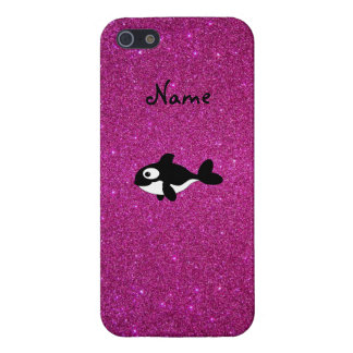 Personalized name killer whale pink glitter iPhone 5/5S cases