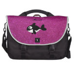Personalized name killer whale pink glitter laptop bag