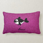 Personalized name killer whale pink glitter pillow