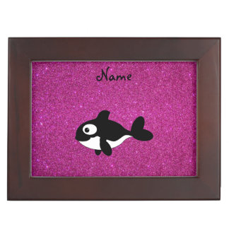 Personalized name killer whale pink glitter memory boxes