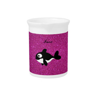 Personalized name killer whale pink glitter beverage pitcher