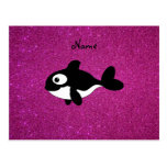 Personalized name killer whale pink glitter postcards