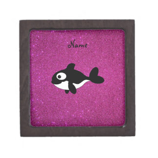 Personalized name killer whale pink glitter premium trinket boxes