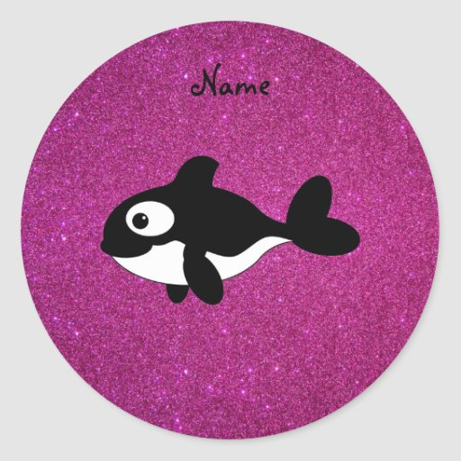 Personalized name killer whale pink glitter classic round sticker