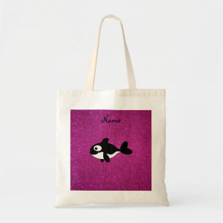 Personalized name killer whale pink glitter tote bag