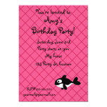 Personalized name killer whale pink grid pattern 5x7 paper invitation card