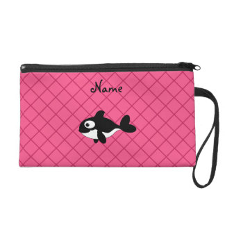 Personalized name killer whale pink grid pattern wristlet clutch