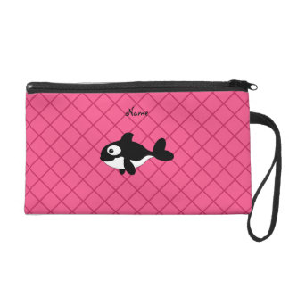 Personalized name killer whale pink grid pattern wristlet clutches