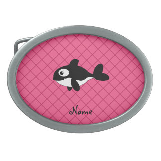 Personalized name killer whale pink grid pattern oval belt buckles