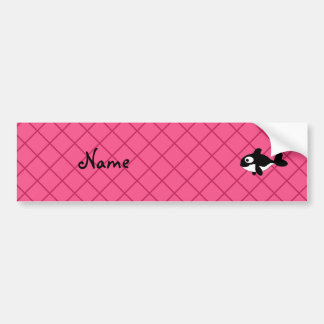 Personalized name killer whale pink grid pattern car bumper sticker