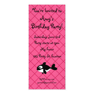 Personalized name killer whale pink grid pattern personalized invite