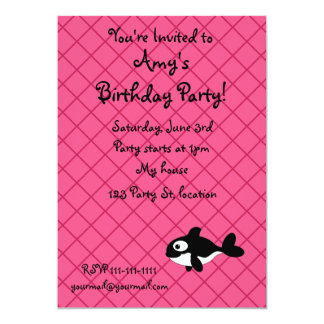 """Personalized name killer whale pink grid pattern 5"""" x 7"""" invitation card"""