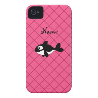 Personalized name killer whale pink grid pattern iPhone 4 Case-Mate case