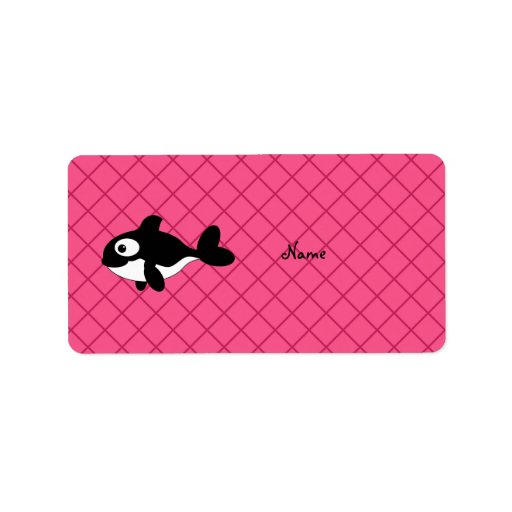 Personalized name killer whale pink grid pattern personalized address label