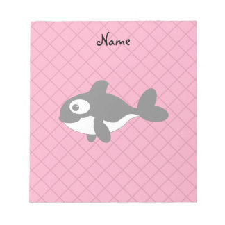 Personalized name killer whale pink grid pattern memo note pad