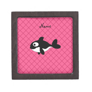 Personalized name killer whale pink grid pattern premium trinket boxes