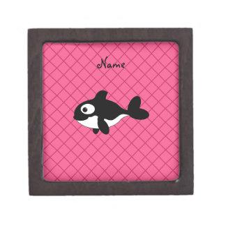 Personalized name killer whale pink grid pattern premium keepsake boxes