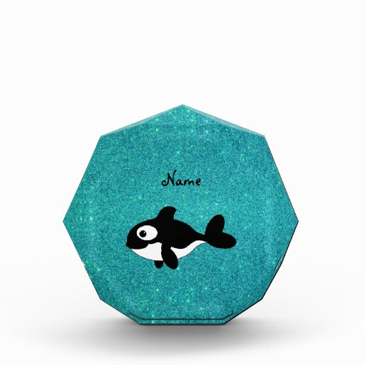 Personalized name killer whale turquoise glitter awards