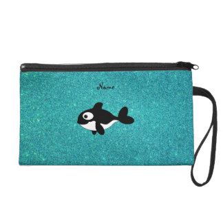 Personalized name killer whale turquoise glitter wristlet clutch