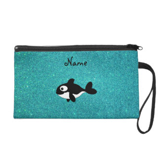 Personalized name killer whale turquoise glitter wristlets