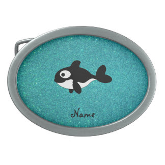 Personalized name killer whale turquoise glitter oval belt buckles