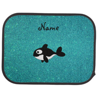 Personalized name killer whale turquoise glitter car floor mat