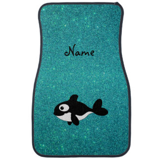 Personalized name killer whale turquoise glitter car mat