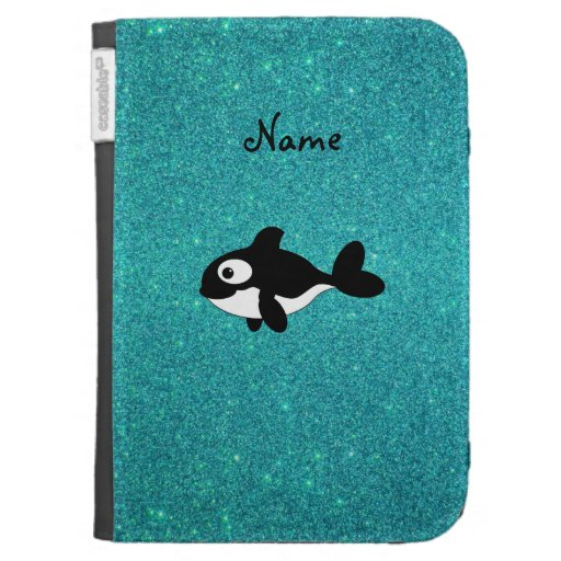 Personalized name killer whale turquoise glitter cases for kindle