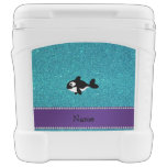 Personalized name killer whale turquoise glitter igloo roller cooler