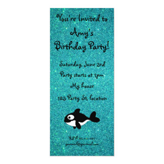 Personalized name killer whale turquoise glitter custom announcements