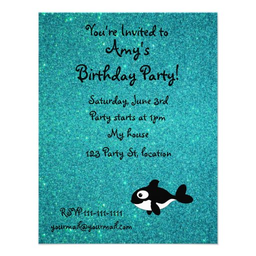 Personalized name killer whale turquoise glitter personalized invite