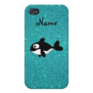 Personalized name killer whale turquoise glitter iPhone 4/4S case