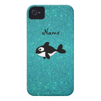 Personalized name killer whale turquoise glitter iPhone 4 covers
