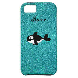 Personalized name killer whale turquoise glitter iPhone 5 case